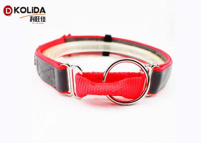 Long Lifespan Nylon Dog Collars Night Reflective Adjustable 3 Sizes With O Ring