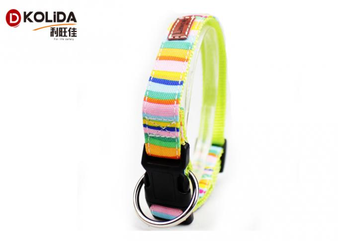 Extra Cute Soft Adjustable Dog Collar Rainbow Color With High Impact Plastic Buckle
