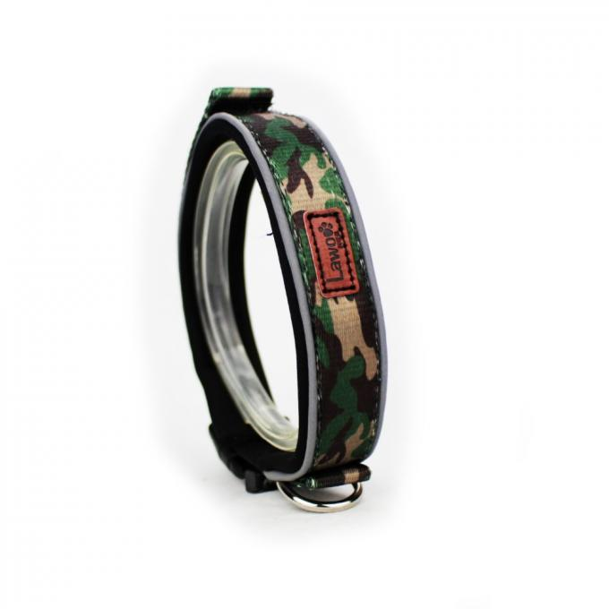 Camouflage Pattern Nylon Material Adjustable Dog Collar With Reflector