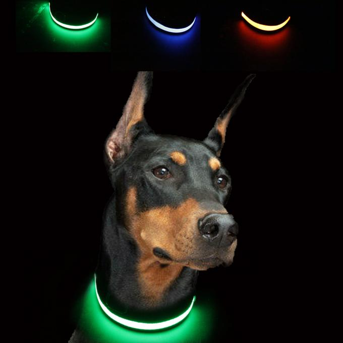 Custom Nylon Glowing Rechargeable Usb Safety Dog LED Collars