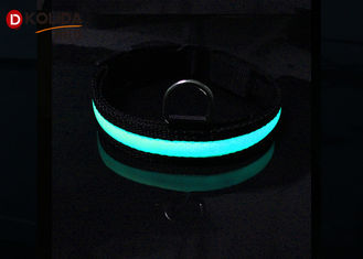 China Nylon Night Safety Pet Flashing LED Flashing Dog Collar , Size S / M / L Easy Walk Dog Collar supplier