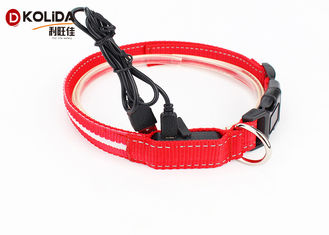 China Adjustable Safety Nylon Rechargeable LED Dog Collar With USB Cable supplier