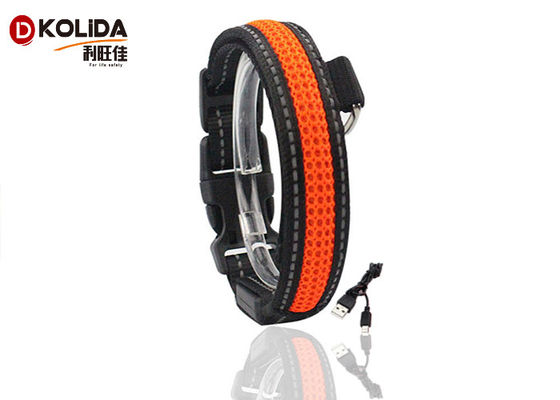 China 100% Nylon Webbing Safety Flashing USB Rechargeable LED Dog Collar And Leash supplier