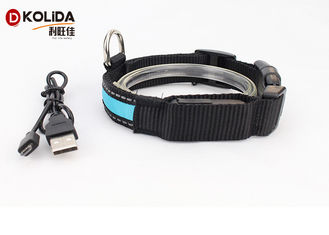 China Reflective Light Up Adjustable 3 Size USB Rechargeable LED Dog Collar supplier