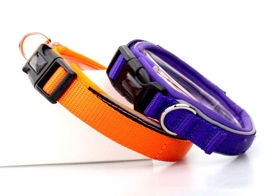 China Durable Soft Strong Nylon Dog Collars Adjustable Cat / Puppy Collar Orange / Blue supplier