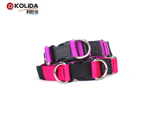 China Personalized Nylon Dog Collars Custom Double D Ring Release Buckle C605 supplier