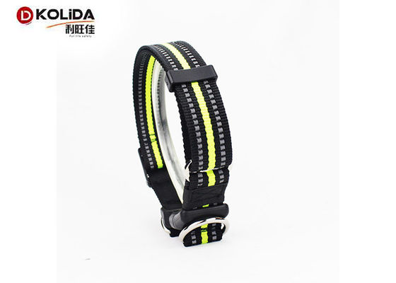 China Adjustable Fabric Nylon Dog Collars Reflective Buckle Clip For Pet Lead supplier