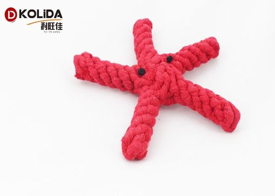 Natural Cotton Rope Pet Toys Red Color 3.5 x 20cm For Teething Cleaning / Playing