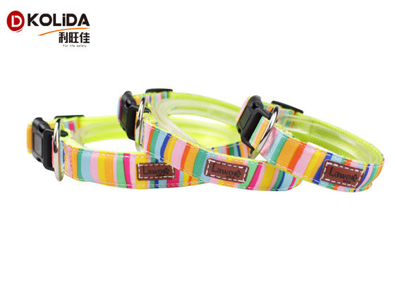 China Extra Cute Soft Adjustable Dog Collar Rainbow Color With High Impact Plastic Buckle supplier