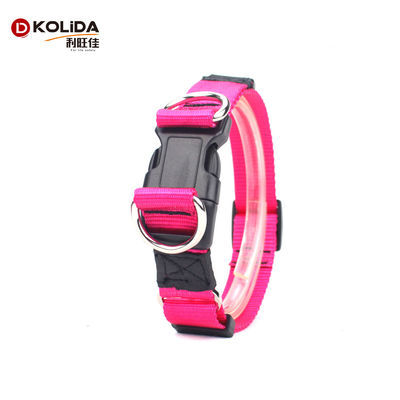 China Pink Color Nature Nylon Dog Collars For Dog Training Outdoor All Seasons supplier