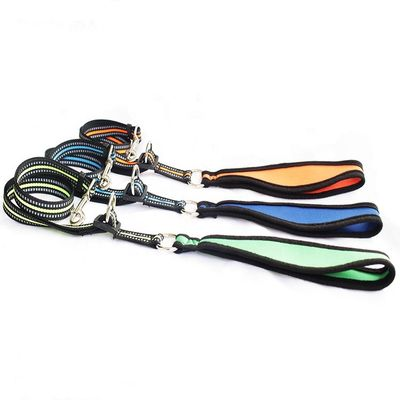 Adjustable LOGO Nylon Dog Leash . Dog Rope Lead Retractable Nylon Braided Pet Dog Leash