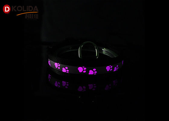 Black Nylon Luminous Dog Collars LED Night Safe Harness Battery CR2032 With 80-120 Hours