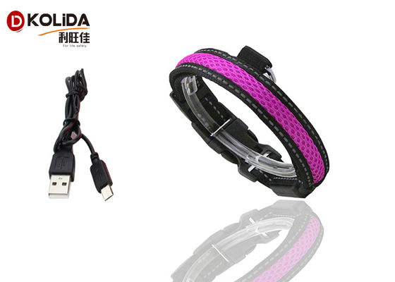 China Purple / Green USB Rechargeable LED Dog Collar Waterproof Flashing Dog Collar factory