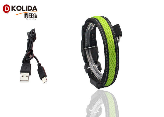 China Strong Durable Nylon Micro USB Rechargeable LED Dog Collar With 140mAh Battery factory