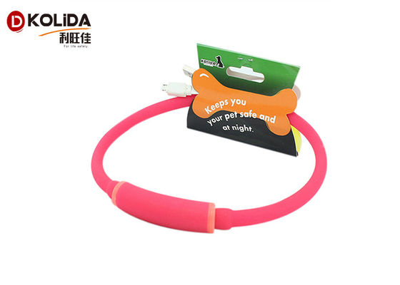 China Flashing Light Up LED Dog Necklace Rechargeable Flashing Dog Collars Pet Gift factory