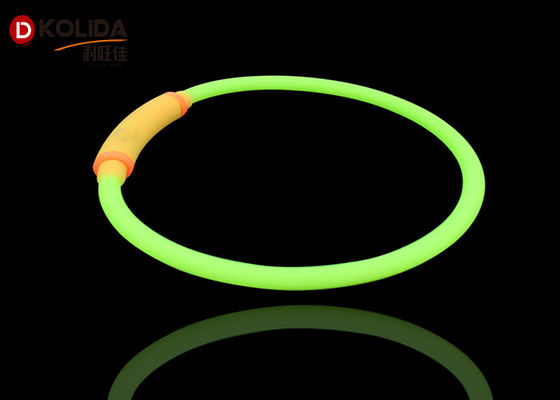 China Luminous USB Charging Adjustable Waterproof Lighted Dog Collar Led Necklace Green / Yellow factory