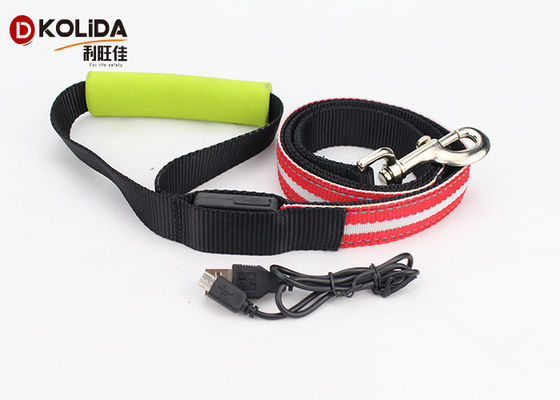 China Large Adjustable Safety Rechargeable LED Dog Leash And Collar Set 120cm factory
