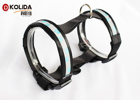 China Mesh Reflective Paw USB Rechargeable LED Dog Harness Light Up Pet Harness distributor