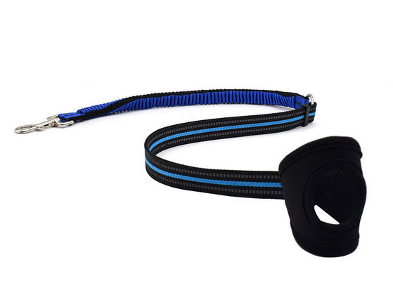 China Blue / Yellow 6 Foot Dog Leash , Anti Shock Stretchy Strong Bungee Dog Leash distributor
