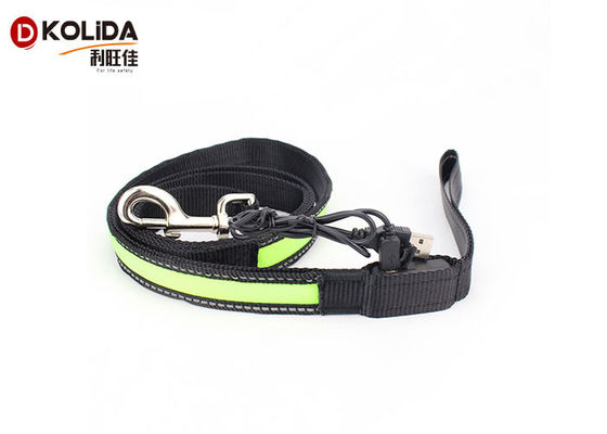 China Adjustable Light Up Easy Walking Rechargeable LED Dog Leash Green For Pets factory