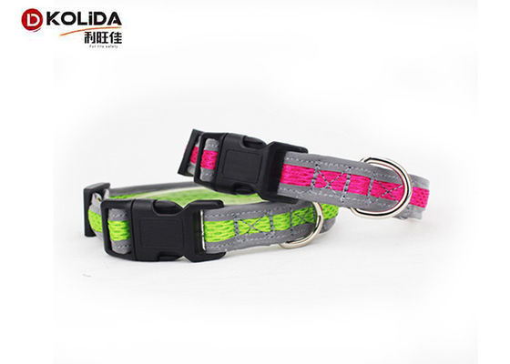 China Two Gray Relflective Nylon Dog Collars Airmesh Material With High Tensile Strength distributor