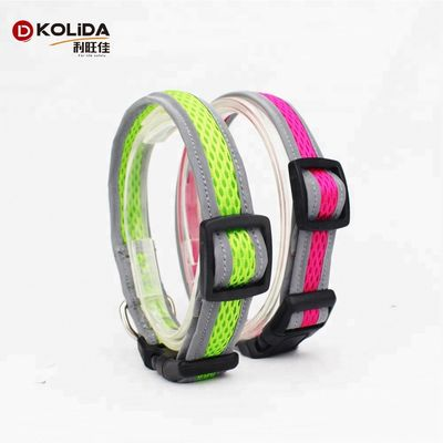 China Multi Size 3M Reflective Tape Dog Collar , Night Reflective Dog Collar For Pet factory