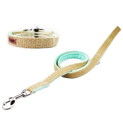 China Nature Hemp Personalized Dog Collar Leash Set 100% Cotton Material distributor