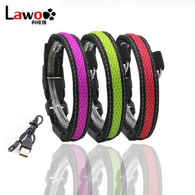 China Waterproof Flashing Dog Collar , Nylon Material Safety Rechargeable Petsafe Dog Collar factory