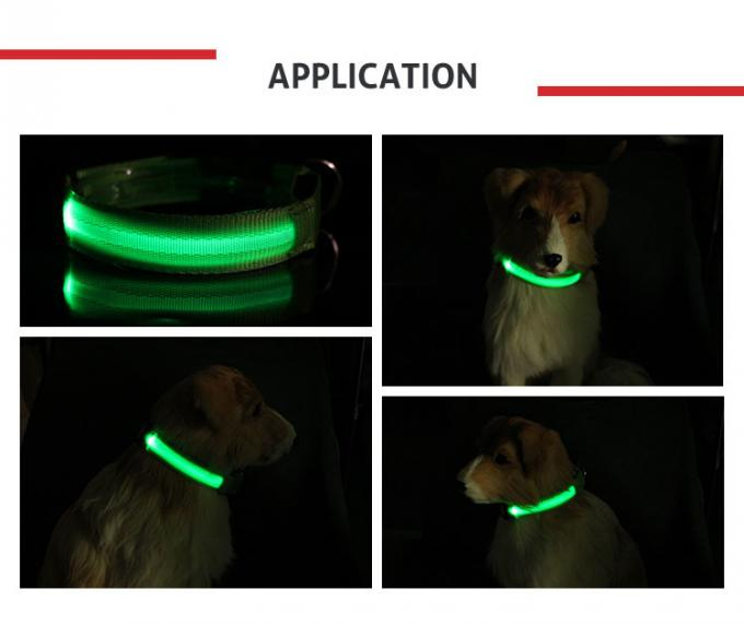 Nylon Bright Night Light LED Dog Collar Flashing Up Safety Leash Orange / Yellow