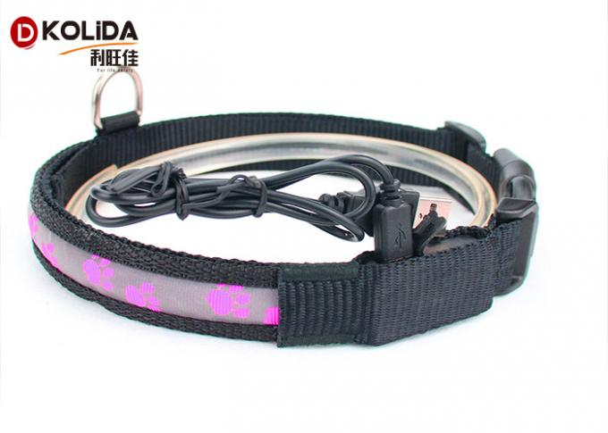 Flashing Luminous LED Dog Safety Collar , Safety Light Up USB Lighted Dog Collars