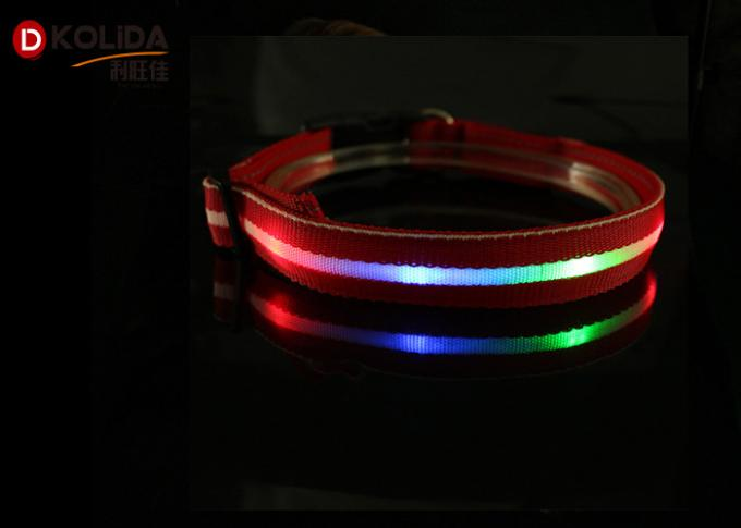 Adjustable Safety Nylon Rechargeable LED Dog Collar With USB Cable