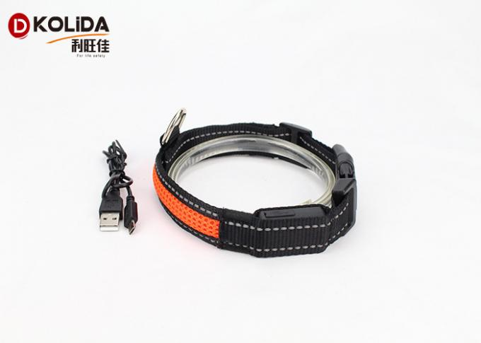 100% Nylon Webbing Safety Flashing USB Rechargeable LED Dog Collar And Leash