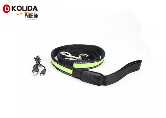 Adjustable Light Up Easy Walking Rechargeable LED Dog Leash Green For Pets