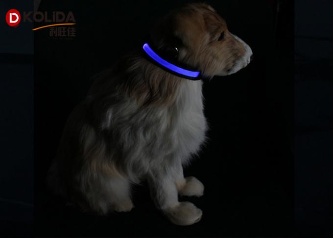 Nylon Night Safety Pet Flashing LED Flashing Dog Collar , Size S / M / L Easy Walk Dog Collar