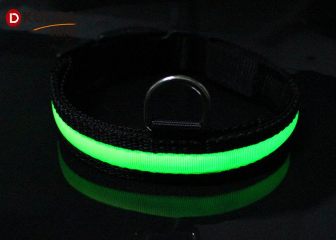 Adjustable LED Dog Collar , Doule D Ring Light Up Dog Collar With 3 Sizes