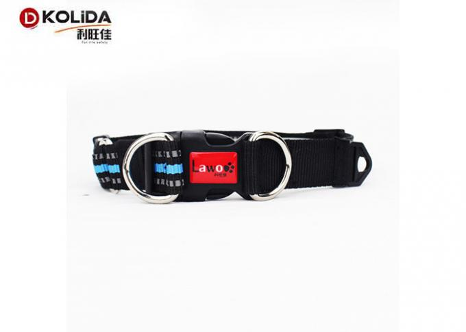 Adjustable Fabric Nylon Dog Collars Reflective Buckle Clip For Pet Lead