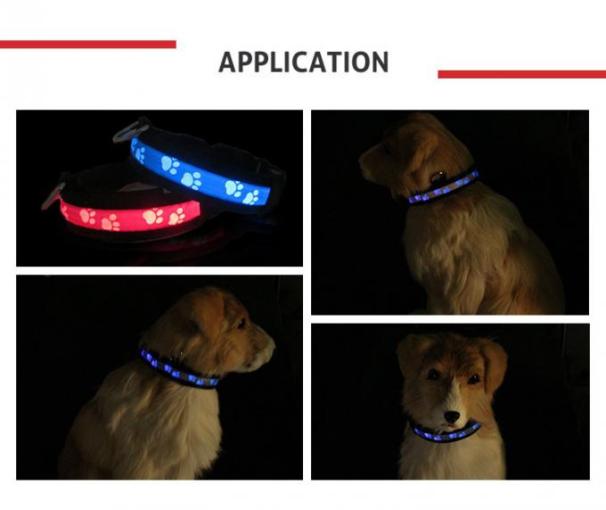Easy Walking USB Rechargeable LED Dog Collar Green / Blue / Pink With 65Mah Liuthium Battery